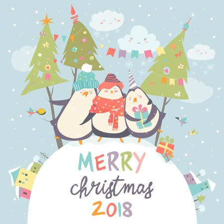 Funny penguins friends celebrating Christmas Vectores