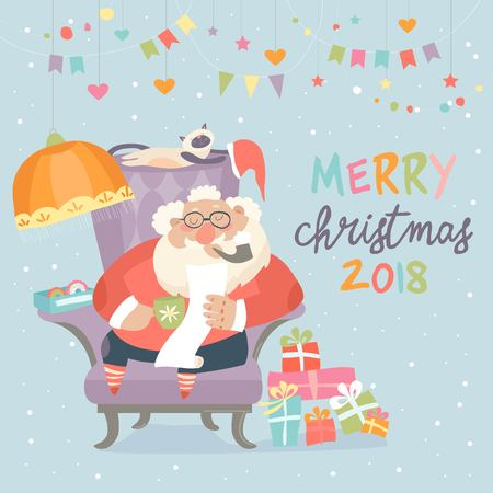 Santa Claus sitting in armchair and reading letter vector illustration.