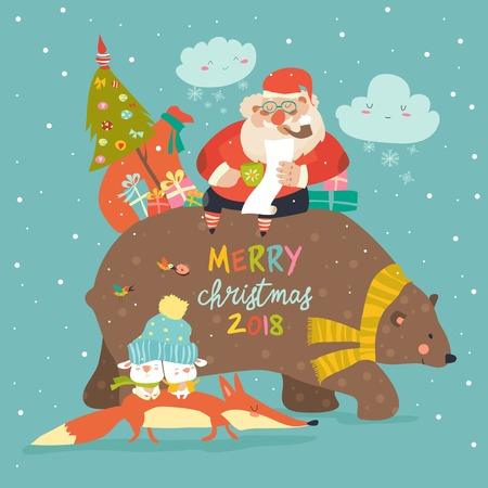 친절한 곰의 뒤쪽에 타고 산타 클로스