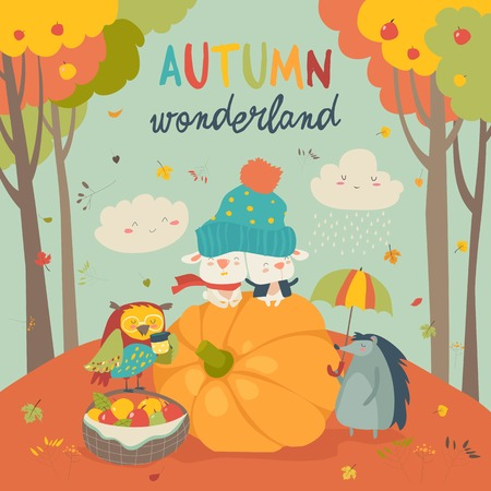 Hello autumn with cute animals.