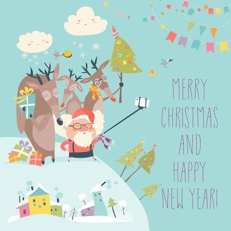 Santa and reindeers take a selfie Illustration