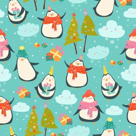 Bezszwowy wzór z ślicznymi pingwinami