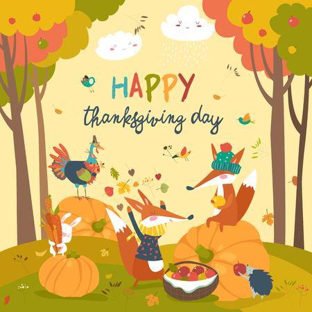 Cute animals celebrating Thanksgiving day