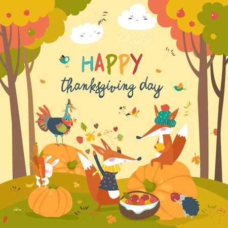 Cute animals celebrating Thanksgiving day Imagens - 89107246