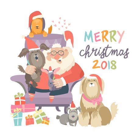 Babbo Natale seduto in poltrona con cani Archivio Fotografico - 89261076