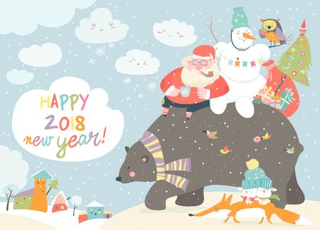 Santa Claus with snowman riding on the back of friendly bear 向量圖像