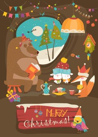 デンでクリスマスを祝うかわいい動物たち  イラスト・ベクター素材