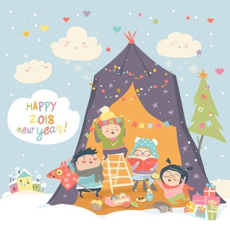 Happy children celebrating Christmas Stock Photo
