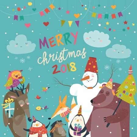 Animali felici che celebrano il Natale, illustrazione vettoriale. Archivio Fotografico - 89833230