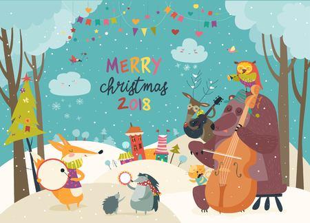 Glückliche Tiere, die Weihnachten feiern Standard-Bild - 91018402