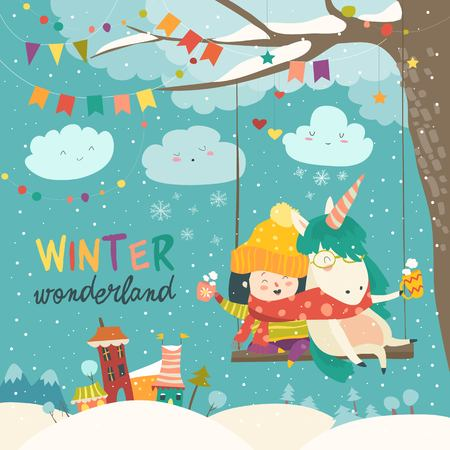 Cute girl and unicorn swinging in winter park