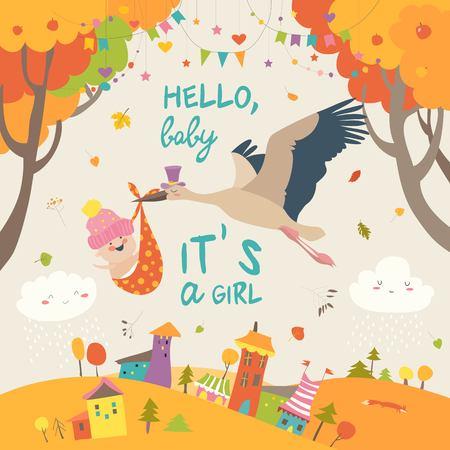 Stork bird with baby Illustration