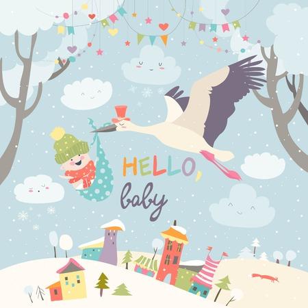 Storch Vogel mit Baby Standard-Bild - 90302738