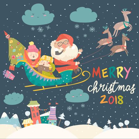 Santa Claus and kids with Reindeer Sleigh 免版税图像 - 90434326
