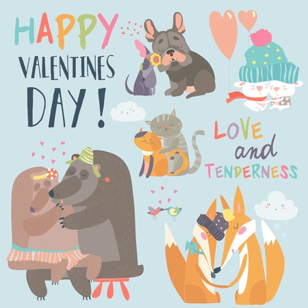 Cute animals couples in love collection. Happy Valentines day postcard. Vector illustration