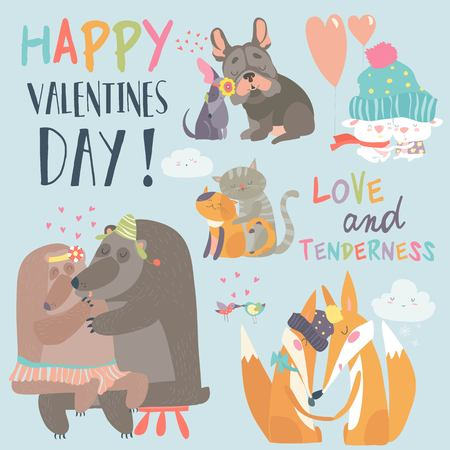 Cute animals couples in love collection, Vector illustration. Illustration