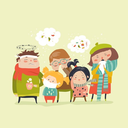 Sick children with fever, illness Vector illustration.