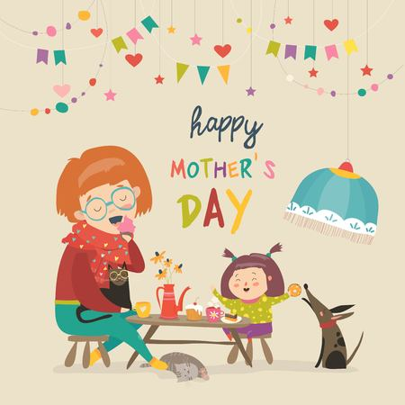 Happy mother with her daughter Vector illustration.