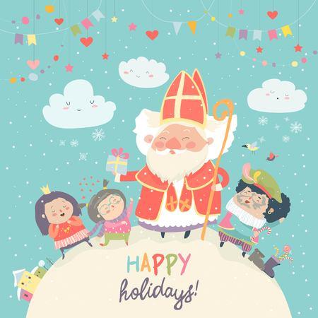 Saint Nicholas with happy kids Vector illustration.