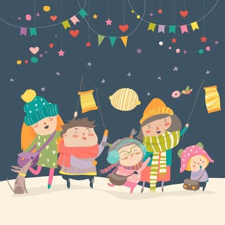Happy kids celebrating Saint Martins day.  イラスト・ベクター素材