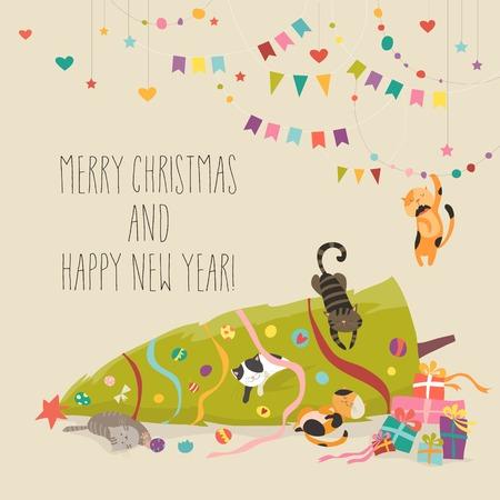 Crazy cats with Christmas tree. 版權商用圖片 - 92501436