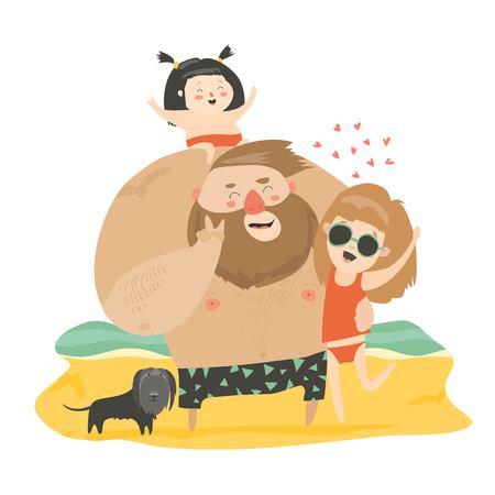 Glückliche Familie am Strand. Standard-Bild - 92543062