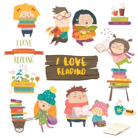 Set of cartoon children reading books.