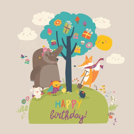 Cartoon animals celebrating Birthday in the forest