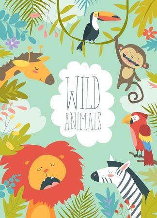 Szczęśliwe zwierzęta dżungli tworzące oprawione tło Ilustracje wektorowe