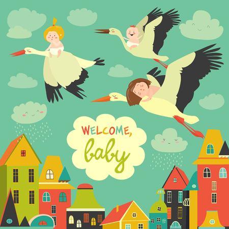 Ooievaars met baby's Stock Illustratie