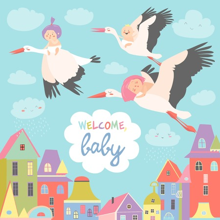 Storks is flying in the sky with babies above the city. Vector illustration Illustration