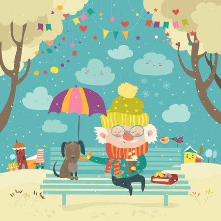 Oude man met hond onder paraplu