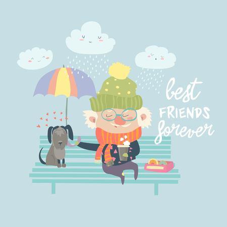 Old man with dog under umbrella Ilustrace