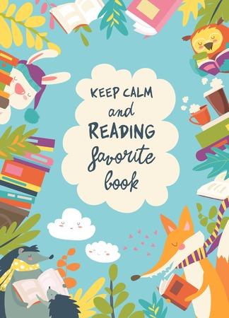 Quadro bonito composto por animais lendo livros Ilustración de vector