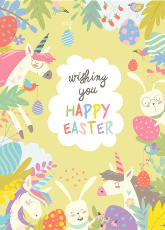 Cute frame composed of Easter bunnies, unicorns and easter egg. Vector illustration.