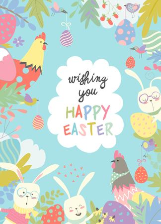 Cute frame composed of Easter bunnies and easter egg. Vector illustration