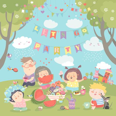 Children having picnic at the lawn Stock Vector - 95048474