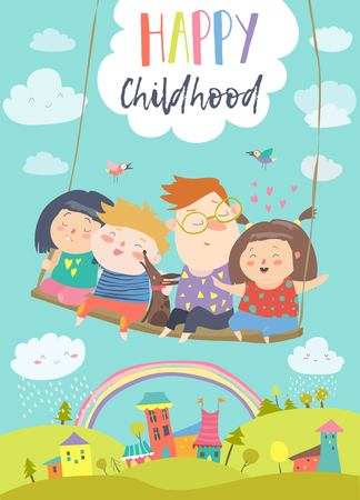 Happy kids flying on a swing card illustration