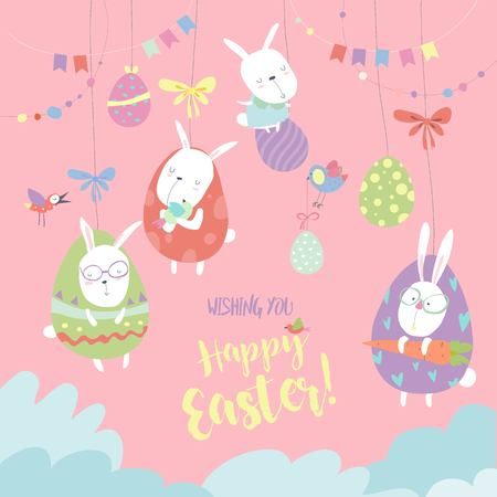 Easter bunnies and Easter egg. Vector illustration.