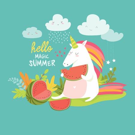 Nettes Einhorn mit Wassermelone isoliert auf einfachen Hintergrund Standard-Bild - 95992656