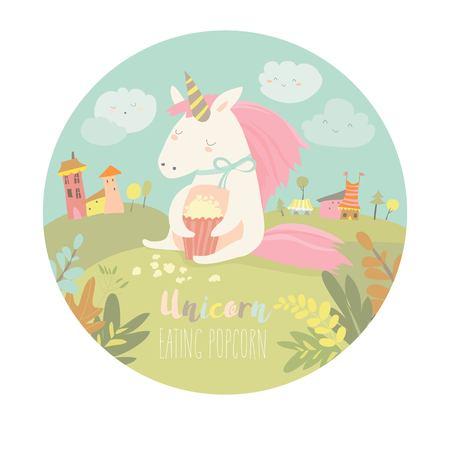 Cute unicorn eating popcorn Ilustracja
