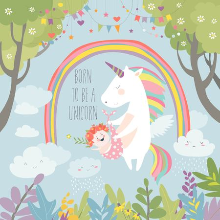 Cute unicorn with baby