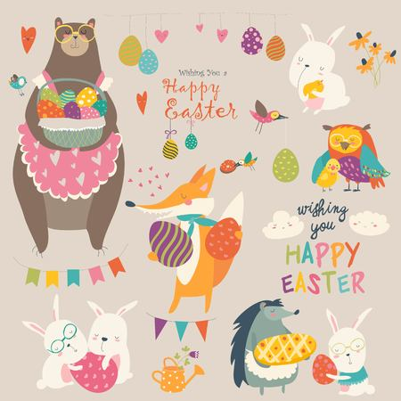 Animals celebrating Easter. Vector set of cartoon characters.