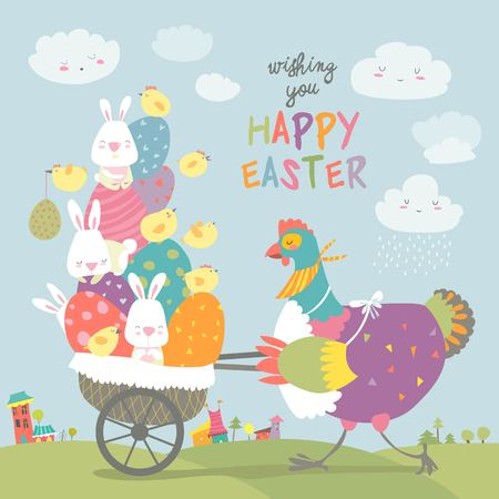 Easter chicken pushing a cart with eggs and bunnies