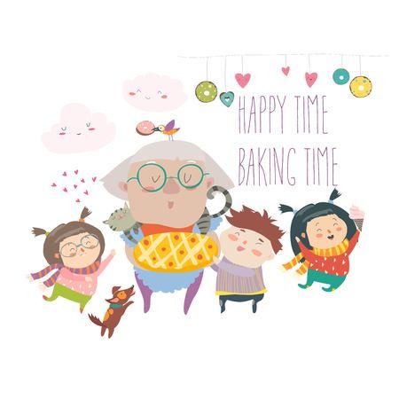 ケーキベクターイラストとおばあちゃんと彼女の孫。 写真素材 - 97274911