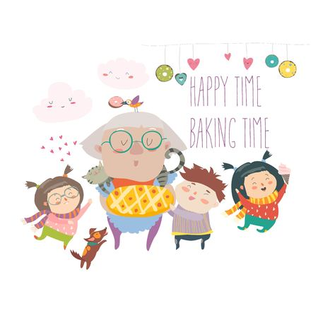 Granny and her grandchildren with cake Vector illustration.