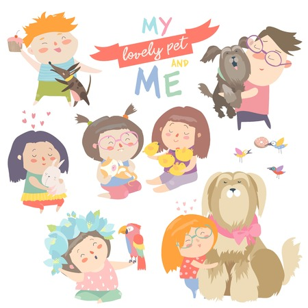 Set of characters. Children with pets Vector illustration.