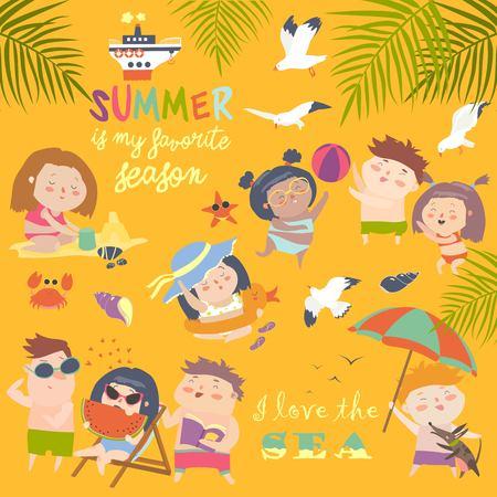 Summer childs outdoor activities. Beach holiday 일러스트