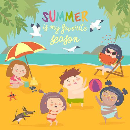 Sommer Childs Outdoor-Aktivitäten . Strandurlaub Standard-Bild - 98426607