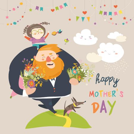 Happy Mothers day card with a man carrying flowers and a girl.